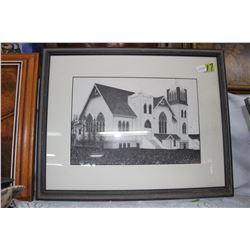 Black & White Church Picture (Framed)