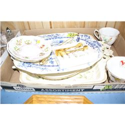 2 Royal Albert Cups & Saucers, 3  Serving Platters, a Cloisonne Candle Snuffer, a Set of 6 Knife Res