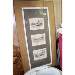 3 Black and White Pictures in One Frame - Depicting Pioneer Scenes