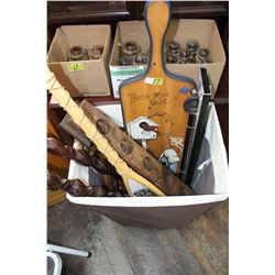 Large Basket with Wooden Wall Décor Items; a Towel Bar & Plastic Décor