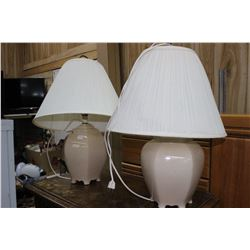 2 Table Lamps with Beige Bases & Shades