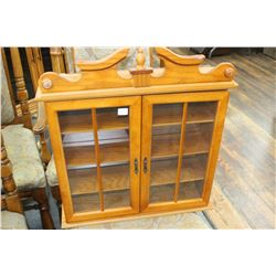 Wooden What Not Cabinet with Glass Doors
