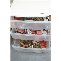 Storage Unit with 3 Drawers - Full of Christmas Decorating Items