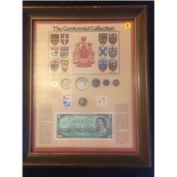 1967 Canada, The Centennial Collection, framed, coins, stamps, bill