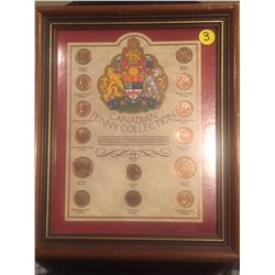 Canadian Penny Collection, framed, large & small cents