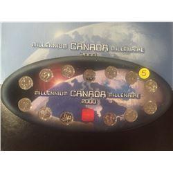 2000 Canada Millenium Set, 13 quarters