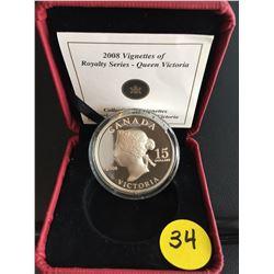 2008 Canada $15 Queen Victoria (Vignettes of Royalty) HR Silver