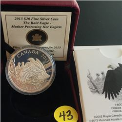 2013 Canada $20 FS The Bald Eagle:  Mother Protecting her Eaglets