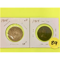 Canada Large Cents  1904, 1905