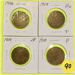 Canada Large Cents  1906, 1908, 1909, 1910