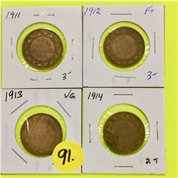 Canada Large Cents 1911, 1912, 1913, 1914