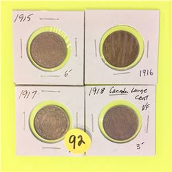 Canada Large Cents 1915, 1916, 1917, 1918