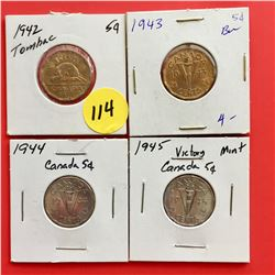 1942 (Tombac), 1943 (Tombac), 1944, 1945 Canada 5¢