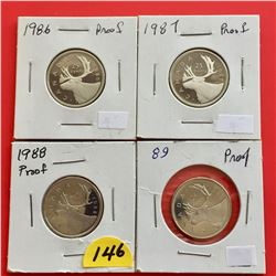 1986, 1987, 1988, 1989 (All 4 Proof) Canada 25¢