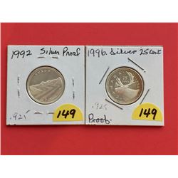 1992 & 1996 (Both Silver Proof) Canada 25¢