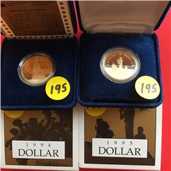 1994 (Remembrance) & 1995 (Peacekeeping) Canada RCM Proof $1
