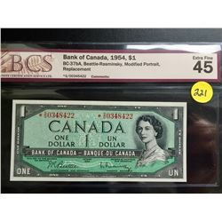 1954 Canada $1 bill (BCS EF 45/Replacement) Beattie/Rasminsky
