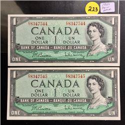 2 Canada 1954 UNC $1 bills (Consecutive) Beattie/Rasminsky