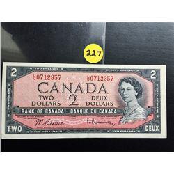 1954 Canada $2 bill (Modified Hair) Beattie/Rasminsky