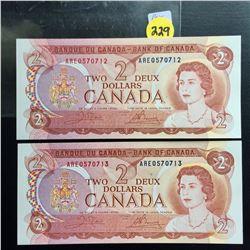 2 Canada UNC $2 bills (Consecutive) Crowe/Bouey