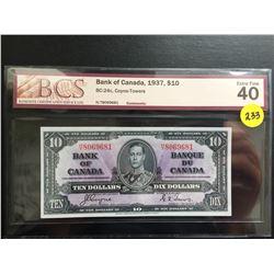 1937 Bank of Canada $10 bill (BCS EF 40) Coyne/Towers