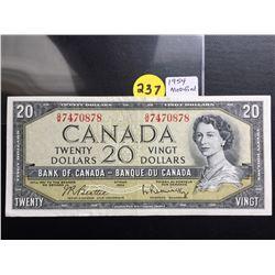 1954 Canada $20 bill (Modified Hair) Beattie/Rasminsky