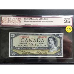 1954 Canada $20 bill (BCS VF 25/Modified Hair) Beattie/Rasminsky