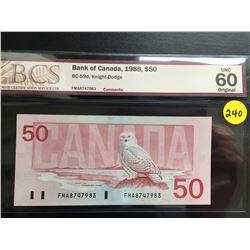 1988 Canada $50 bill (BCS UNC 60/Original) Knight/Dodge