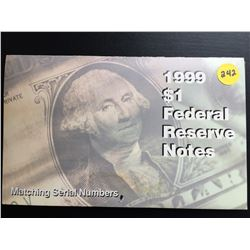 2 USA Gem UNC  $1 Federal Reserve Notes (Identical Serial #s