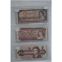 Cdn. Two Dollar Bills (3)