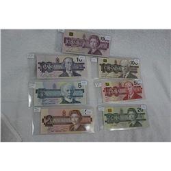 Set of '7' Cdn. Bills - Uncirculated