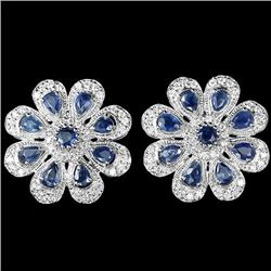 Natural Blue Sapphire 40.30 Carats Flower Earrings