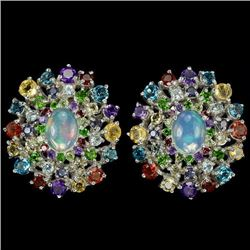Natural Opal & Multi Gemstone Earrings