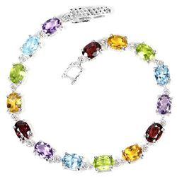 Natural  AMETHYST RHODOLITE PERIDOT CITRINE Bracelet