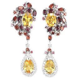 NATURAL CITRINE GARNET RHODOLITE Earrings