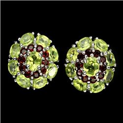 Natural Green Peridot Mozambique Garnet Earrings