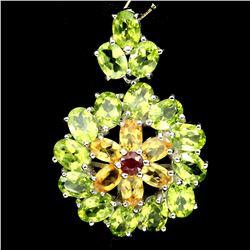 Natural  Green Peridot Citrine Ruby Pendant