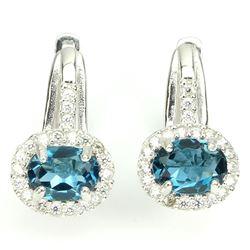 Natural London Blue Topaz 26 Carats Earrings
