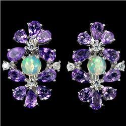 NATURAL AAA  OPAL & PURPLE AMETHYST Earrings