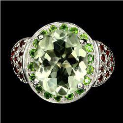 Natural Green Amethyst Chrome Diopside Garnet Ring