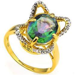 Natural Green Mystic & Diamond 2.62 ct Ring