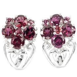 Natural Rhodolite Garnet Earrings