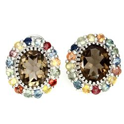 Natural Smoky Quartz Fancy Sapphire Earrings