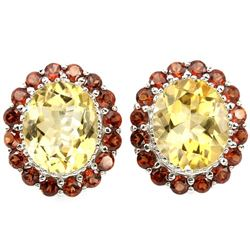 Natural Citrine & African Garnet Earrings