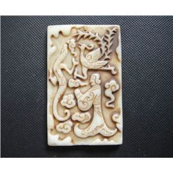 Old China White jade hand-carved Dragon and phoenix