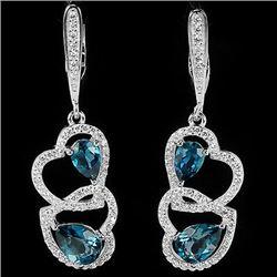 Natural London Blue Topaz Hearts Earrings