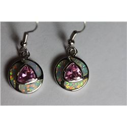 Natural Pink Topaz & Opal Earrings