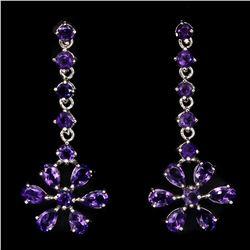 Natural Rich Purple Amethyst Earrings