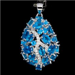 Natural Rare Brazil Blue Apatite Pendant