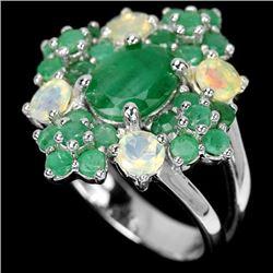 NATURAL GREEN EMERALD & RAINBOW OPAL Ring